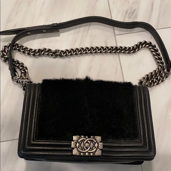 CHANEL Handbags - Chanel Boy bag with fur!